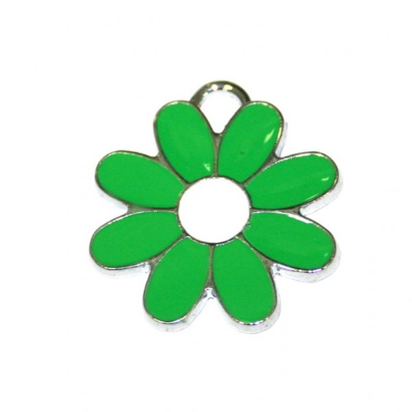 1 x 22*22mm rhodium plated green daisy with white bud enamel charm - SD03 - CHE1282